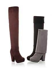 Calçados Femininos - Botas - Arrendondado - Salto Grosso - Preto / Marrom / Cinza - Flanelado - Social