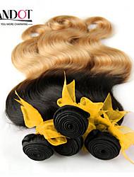 "4pcs lot 14-28 ""ombre malay 2 two tone schwarz blond 1b / 27 # reine remy Menschenhaarverlängerungen / weben bündelt Körperwelle"
