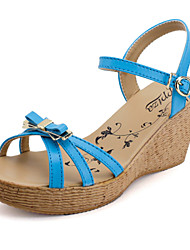 Women's Shoes Leather Wedge Heel Wedges/Comfort Sandals Outdoor/Dress/Casual Blue/Yellow/Red