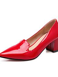 Calçados Femininos Couro Envernizado Salto Grosso Saltos/Bico Fino Plataformas / Saltos Social Preto/Verde/Vermelho/Bege