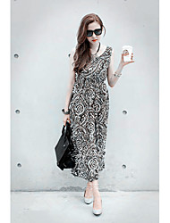 Summer style 2015 Korean new women style cool classical totem pattern printed sleeveless long dress