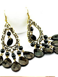 Women's Hollow Out Vintage  Tassels Black Drop Earrings