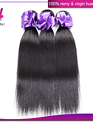 Indian Remy Hair 3Pcs Virgin Straight Human Hair Extensions Natural Color #1B