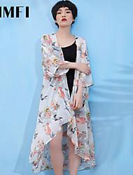 Damen Bluse  -  Blume Chiffon Langarm
