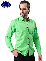 2015 Fashion Green Men Shirts, Black Button, Long sleeve,Solid Color,Turn-down Collar, Single Breasted (1207)