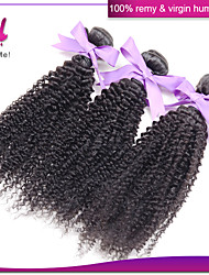 3Pcs Lot Kinky Curly Virgin Hair Natural Black Color 100% Remy Human Hair Weaves  Indian Kinky Curly