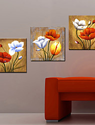 Oil Painting Decoration Abstract Flower Hand Painted Canvas with Stretched Framed - Set of 3