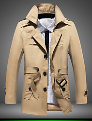Men's Long Sleeve Long Trench coat , Cotton/Polyester Pure