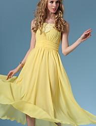 Women's Yellow Dress , Beach Sleeveless