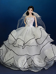 Barbie Doll White/Black Wedding Organza/Lace Dresses Dresses