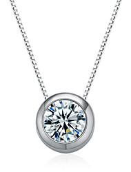 jazlyn® donna platinato Argento 925 rotondo pendente collana di fascino zirconi per il regalo