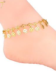 U7® Women's Lovely Kids Ankle Chains 18K Real Gold/Platinum Plated Adjustable Smiles Charms Bracelets Anklets