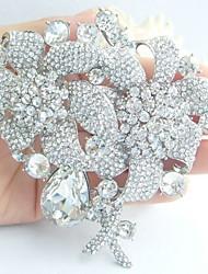 Women Accessories Wedding Silver-tone Clear Rhinestone Crystal Flower Bridal Brooch Wedding Deco Crystal Brooch