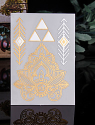 4PCS Flash Tattoo Gold Tattoo Taty Tatoo Tatouage Temporary Tattoo Sticker Metal Tatoos Body Tatto Metallic Tattoo Flash