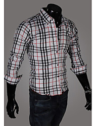 Hot Sell Summer Style 2015 Brand Long-Sleeve Shirt Men Clothes Plaid Shirt Men