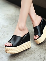 Women's Shoes Wedge Heel Wedges Sandals/Slippers Office & Career/Casual Black/White