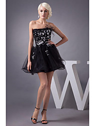 Cocktail Party Dress - Black Petite A-line Strapless Knee-length Tulle