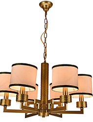 New style,Elegant Fashion Modern 6 Lights Golden Wrought Iron  New Chinese Style Cloth Art Chandelier