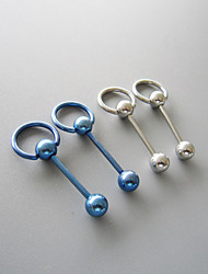14G SS 316L Steel Pacific Blue Straight Barbell Captive Ring Body Piercing Jewelry 4 Pack BJ-1-020