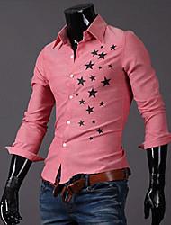 Men's Shirt Collar Casual Shirts , Cotton Blend Long Sleeve Casual Hollow Out All Seasons HI MAN