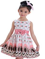 Kids Girls Bow Belt Sleeveless Bubble Peacock Party Dresses (Cotton Blends)