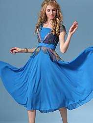 De las mujeres Vestido Midi - Volante Asimétrico - Raso - Manga Corta