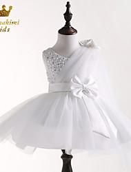 Girl White Sequin Grenadine Soutache With Flower Embellished Tie Wedding Dress