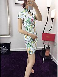 Mulheres Vestido Acima do Joelho Manga Curta Colarinho Chinês Fenda Mulheres
