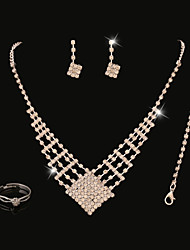 FanXi    European  Fashion Exquisite Diamond Jewelry Bride Crystal Necklace  Earrings  Rings   Bracelets Four