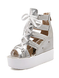 Women's Shoes Synthetic Flat Heel Peep Toe/Gladiator/Creepers Sandals Outdoor/Dress/Casual Silver/Gold