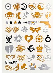4PCS Flash Tattoo Gold Tattoo Metallic Tattoo Taty Tatouage Temporary Tattoo Sticker Metal Tatoo Fake Tatto 1PC
