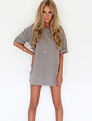 Dominic Women's Solid Color Gray Dresses , Casual Round Short Sleeve
