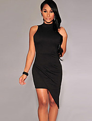 Women's Asymmetrical Mock Neck Mini Dress