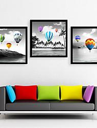 E-HOME®  Framed Canvas Art ,A balloon Framed Canvas Print Set of  3
