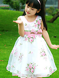 Dragon Baby Girl's Summer/Spring Micro-elastic Thin Sleeveless Flower Dresses (Satin)