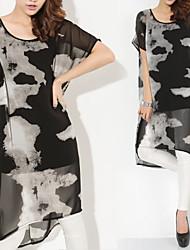 Women's Round Dresses , Chiffon Beach/Casual/Cute/Party Short Sleeve ANWENXI