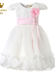 Girl White Satin Tulle Classical Fairy Flower Girl Dress
