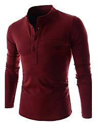 Men's Stand T-Shirts , Cotton Blend Long Sleeve Casual Pocket All Seasons HI MAN