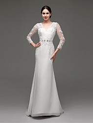 A-line Wedding Dress - Ivory Sweep/Brush Train V-neck Chiffon / Lace