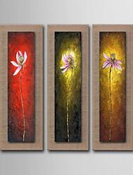 olieverf bloemen decoratie hand beschilderd doek met gespannen ingelijst - set van 3