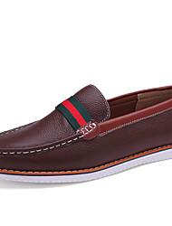 COLOR Men's Shoes Black/Blue/Brown/Green Flat Heel Loafers & Moccasins (Leather)