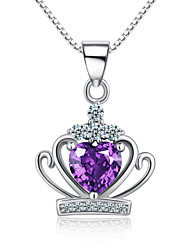 Jazlyn® Authentic Platinum Plated 925 Sterling Silver Crown Queen Purple Heart Crystal 1MM Box Chain Women's Necklace