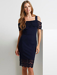 Women's Navy Bardot Trim Hollow-out Midi Dress