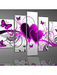 Hand-painted Red Hot Love Butterfly Flowers Landscape Oil Paintings on Canvas 5pcs/set No Frame