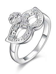 Fashion Personality Mask Shape Silver Plating Foreign Trade With Setting Zircon Ring Jewelry (Silver)(1Pc)
