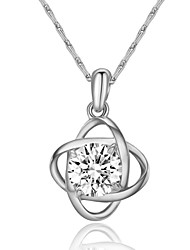 T&C Women's Concise 18k White Gold Plated Clear Simulated Diamond Crystal Flower Pendant Necklace