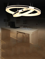 Acrylic LED Pendant Light Round Chandelier Lighting for Living Room Dining Room with 2 Rings Lamps Fixtures