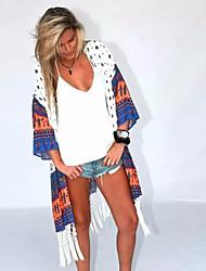Women's Print Shirt , Off Shoulder Long Sleeve Tassel