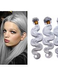 """3pcs / lot brasileña del cuerpo del pelo humano de la onda del pelo gris weavs 8 """"-34"""" / extensiones de cabello pc 100g"""