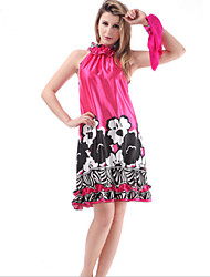 WEST BIKING® Women's Pajamas Rose Red Black Flower Minidress Satin Fancy Silk Sleep Dress Rayon Sleepwear
